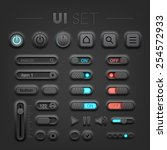 vector dark  ui set. high...