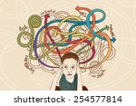 overthinking and confused about ... | Shutterstock .eps vector #254577814