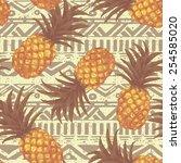 hand drawn seamless pattern... | Shutterstock .eps vector #254585020