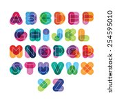 font from colorful thick... | Shutterstock .eps vector #254595010