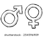 hand drawn gender symbols....   Shutterstock .eps vector #254596909