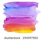 abstract watercolor rainbow... | Shutterstock .eps vector #254597503