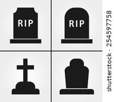 grave icons   Shutterstock .eps vector #254597758