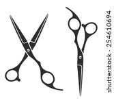 vintage barber shop scissors ... | Shutterstock .eps vector #254610694