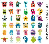 big vector set of cartoon cute... | Shutterstock .eps vector #254619130
