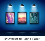 Spotlights Wall with Low Poly Arts to use for product advertisement, shop simulations, item promotions, packaging show and so on