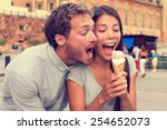 funny playful young couple... | Shutterstock . vector #254652073