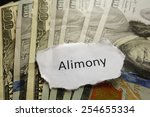 Small photo of Closeup of Alimony paper note on cash