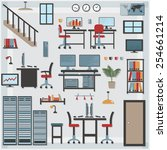 furniture with shadows icons it ... | Shutterstock .eps vector #254661214