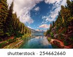 mountain inlet flanked by tall... | Shutterstock . vector #254662660