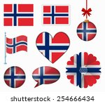 norway flag set of 8 items...   Shutterstock .eps vector #254666434