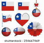chile flag set of 8 items vector | Shutterstock .eps vector #254667469