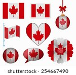 canada flag set of 8 items... | Shutterstock .eps vector #254667490