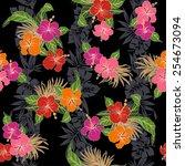 pattern of hibiscus | Shutterstock .eps vector #254673094