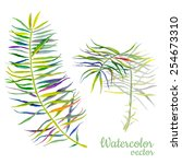 abstract palm watercolor palm... | Shutterstock .eps vector #254673310