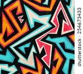 graffiti seamless pattern with... | Shutterstock . vector #254673433