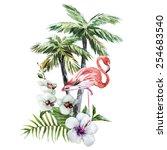 Flamingos  Watercolor  Bird ...