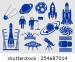 set of icons  space ships ... | Shutterstock .eps vector #254687014