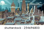 cityscape at night. basic ... | Shutterstock .eps vector #254696803