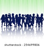 happy children dancing together | Shutterstock .eps vector #254699806
