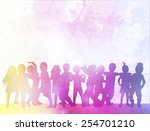 happy children dancing together | Shutterstock .eps vector #254701210