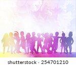happy children dancing together   Shutterstock .eps vector #254701210