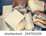 dirty messy paper documents as... | Shutterstock . vector #254702104