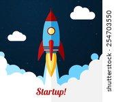 space rocket launch. concept... | Shutterstock .eps vector #254703550