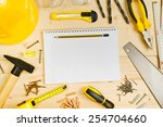 top view of planning a project... | Shutterstock . vector #254704660