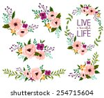 Stock vector flower watercolor vector set 254715604