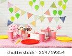 prepared birthday table for... | Shutterstock . vector #254719354
