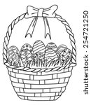 Basket Of Easter Eggs Outline...