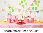 prepared birthday table for... | Shutterstock . vector #254723284