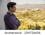 attractive young man standing... | Shutterstock . vector #254726656