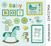 baby boy card stamps cute...