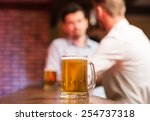 two male friends in a pub with... | Shutterstock . vector #254737318