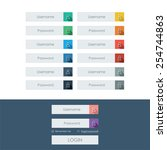 set of login form line icons in ...