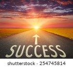 driving on an empty asphalt... | Shutterstock . vector #254745814