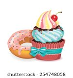 vector cupcake and donut... | Shutterstock .eps vector #254748058