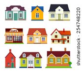 set of vector buildings | Shutterstock .eps vector #254748220