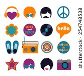 set of color hippie flat icons | Shutterstock .eps vector #254748538