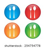 fork and spoon icon.  | Shutterstock .eps vector #254754778