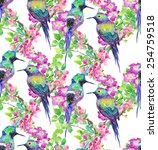 watercolor pattern of exotic... | Shutterstock . vector #254759518