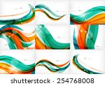 green and orange lines modern... | Shutterstock .eps vector #254768008