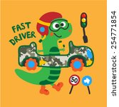 a cute dinosaurs driving toy... | Shutterstock .eps vector #254771854