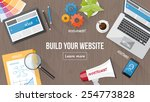 web developer desk with... | Shutterstock .eps vector #254773828