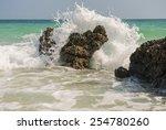 Big Wave Splashing. Sea Water...