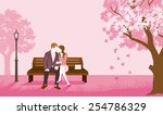 couple sitting on a bench  pink ... | Shutterstock .eps vector #254786329