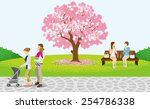 cherry blossom tree and... | Shutterstock .eps vector #254786338