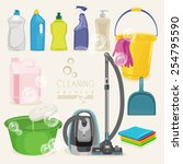 cleaning kit icons. supplies.... | Shutterstock .eps vector #254795590